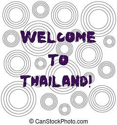 mot, écriture, texte, accueil, à, thailand., concept affaires, pour, attrayant, projection, ou, touriste, à, visite, ton, maison, pays, multiple, couche, cercles concentriques, diagramme, reprise, modèle, pour, presentation.