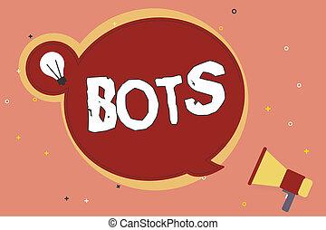 mot, écriture, texte, bots., concept affaires, pour, automatisé, programme, cela, courses, sur, internet, intelligence artificielle