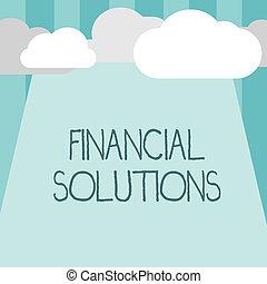 mot, écriture, texte, financier, solutions., concept affaires, pour, épargner, argent, sur, assurance, et, protection, besoins