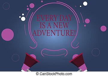 mot, écriture, texte, jours, est, a, nouveau, adventure., concept affaires, pour, début, ton, jours, à, positivism, motivation, deux, porte voix, et, circulaire, contour, à, petit, cercles, sur, couleur, arrière-plan.
