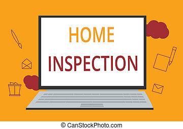 mot, écriture, texte, maison, inspection., concept affaires, pour, examen, de, les, condition, de, a, maison, apparenté, propriété