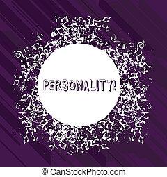 mot, écriture, texte, personality., concept affaires, pour, combinaison, caractéristiques, cela, formulaire, individus, caractère, disarrayed, et, brouillé, notes musicales, icône, entourer, vide, coloré, circle.