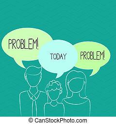 mot, écriture, texte, problem., concept affaires, pour, ennui, cela, besoin, à, être, résolu, situation difficile, complication.