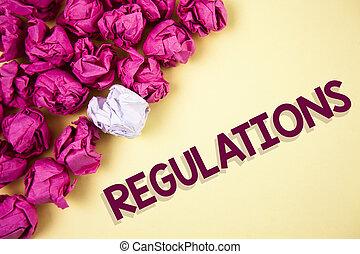 mot, écriture, texte, regulations., concept affaires, pour, règles, lois, constitué, normes, policies, sécurité, déclarations, écrit, sur, uni, fond, papier chiffonné, balles, côté, it.