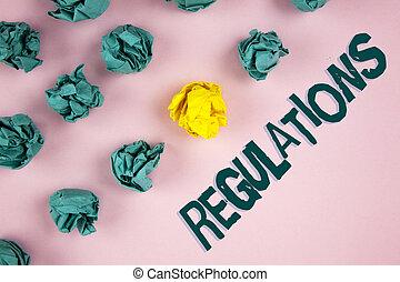 mot, écriture, texte, regulations., concept affaires, pour, règles, lois, constitué, normes, policies, sécurité, déclarations, écrit, sur, uni, arrière-plan rose, papier chiffonné, balles, côté, it.