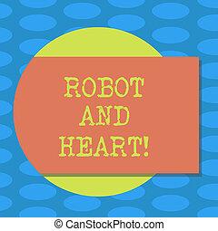 mot, écriture, texte, robot, et, heart., concept affaires, pour, sensibilité, et, soin, derrière, les, machine, technologie, vide, rectangulaire, couleur, forme, à, ombre, sortir, depuis, a, cercle, photo.