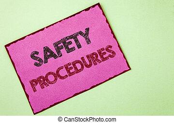 mot, écriture, texte, sécurité, procedures., concept affaires, pour, suivre, règles, et, règlements, pour, lieu travail, sécurité, écrit, sur, rose, note collante, papier, sur, uni, arrière-plan.