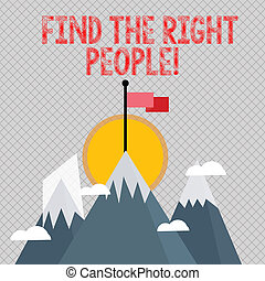 mot, écriture, texte, trouver, les, droit, gens., concept affaires, pour, choisir, parfait, candidat, pour, métier, ou, position.