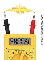 mot, électrique, flash, multimètre, shock!, affichage numérique