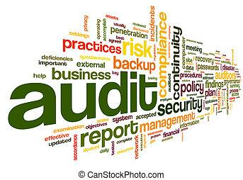 mot, étiquette, conformité, nuage, audit