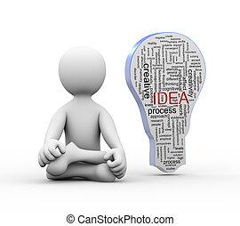 mot, étiquettes, homme idée, ampoule, position, yoga, 3d