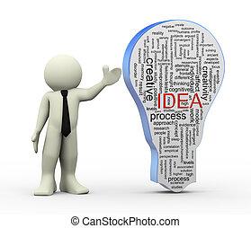 mot, étiquettes, idée, ampoule, homme, 3d