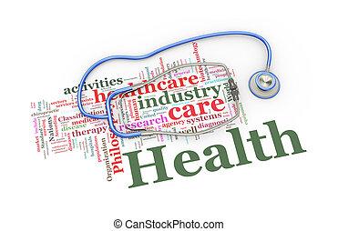 mot, étiquettes, sur, illustration, stéthoscope, healthcare, 3d
