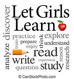 mot, étude, filles, lire, laisser, écrire, apprendre, nuage