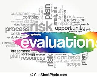 mot, évaluation, collage, nuage