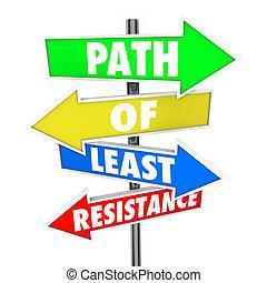 mot, éviter, ea, résistance, moindre, prendre, flèche, signes, sentier, conflit