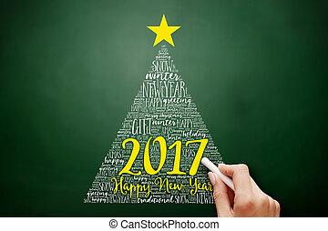 mot, 2017, année, nouveau, noël, nuage, heureux