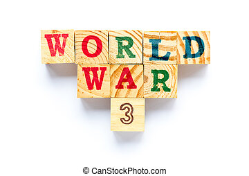 mot, 3, bois, fond, mondiale, blanc, guerre, bloc