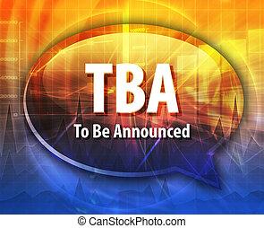 mot, acronyme, illustration, parole, tba, bulle