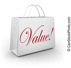 mot, affaire, valeur, sac, économies, achats, spécial