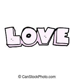 mot, amour, dessin animé