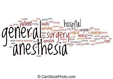 mot, anesthésie, nuage, général