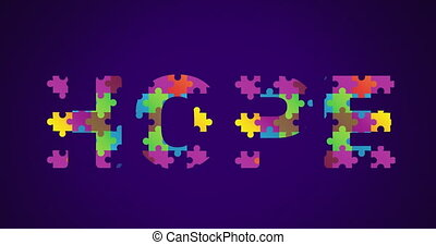 mot, animation, former, puzzle, conscience, autism, mois, symbole, espoir, multi, éléments, coloré