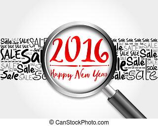 mot, année, nouveau, 2016, nuage, heureux