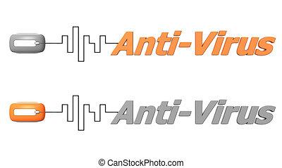 mot, anti-virus, connecté, à, a, souris, -, orange, et, gris