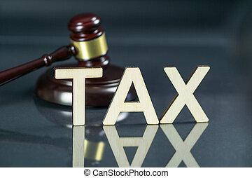 mot, argent, concept., impôt, marteau, droit & loi, table.