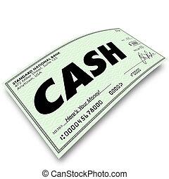 mot, argent, espèces, payé, paiement, papier, chèque