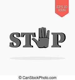 mot, arrêt, à, signe main, icon., plat, conception, gris, couleur, symbole.