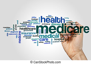 mot, assurance-maladie, nuage