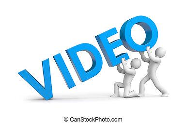 mot, augmentation, gens, vidéo, petit, 3d