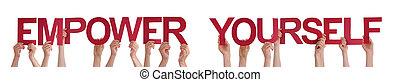mot, autoriser, vous-même, tenant mains, directement, rouges