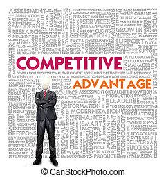 mot, avantage, concept affaires, compétitif, nuage