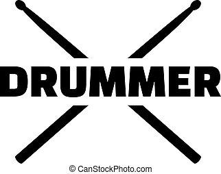 mot, bâtons tambour, batteur
