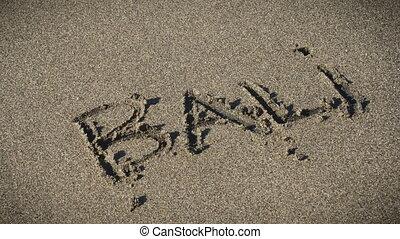 mot, bali, loin, sable, vague, écrit, lave