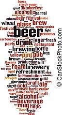 mot, bière, nuage