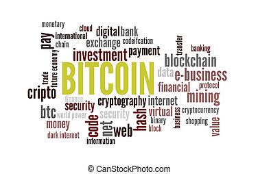 mot, bitcoin, nuage