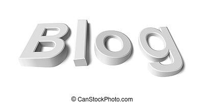 mot, blog, blanc, fond