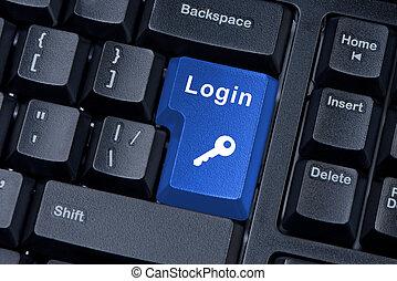 mot, bouton, clã©, clavier, icon., login