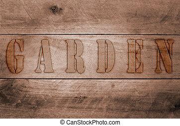 mot, brûlé, écrit, lettres, jardin