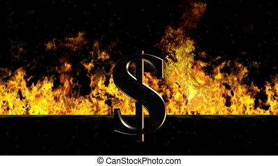 mot, brûlé, brûler, signe dollar, chaud