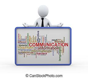 mot, business, étiquettes, communication, 3d, homme
