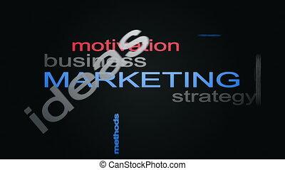 mot, business, commercialisation, stratégie, sphère, animation, texte, nuage