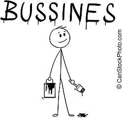 mot, business, pinceau, homme affaires, peinture, dessin animé, boîte
