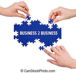 mot, business, puzzle, isolé, 2, mains, confection, blanc