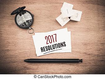 mot, business, sommet bois, compas, stylo, planification, noir, année, 2017, table, resolutions, carte, vue