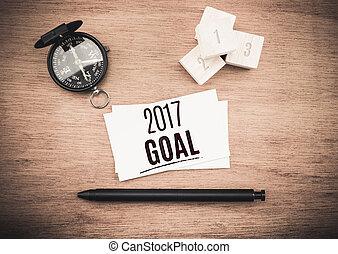 mot, business, sommet bois, compas, stylo, planification, noir, buts, année, 2017, table, carte, vue